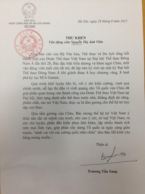 The prasing letter from Mr. Nguyen Tan Sang